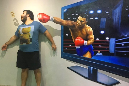 Getting knocked out at Trickeye Museum