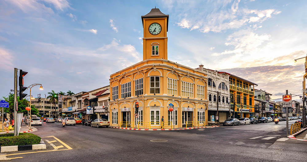 The Standard Chartered building and clock tower in Phuket Town