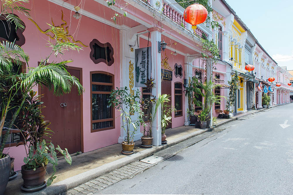 Dibuk Road in Phuket Town with Sino-Portuguese shop houses