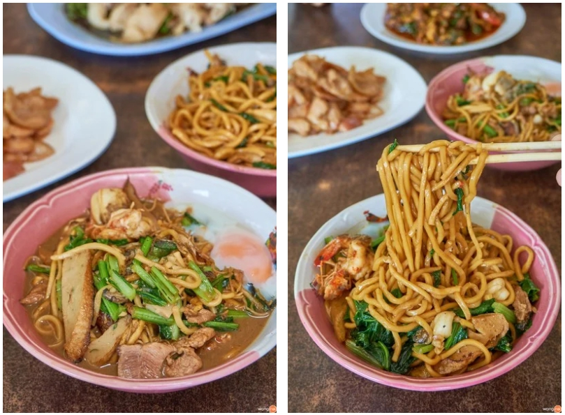 A bowl of dry and soup-style hokkien noodles