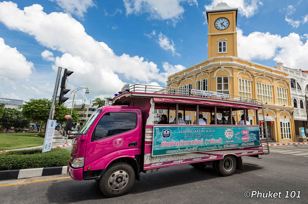 Standard Chartered building and clock tower in Phuket Town