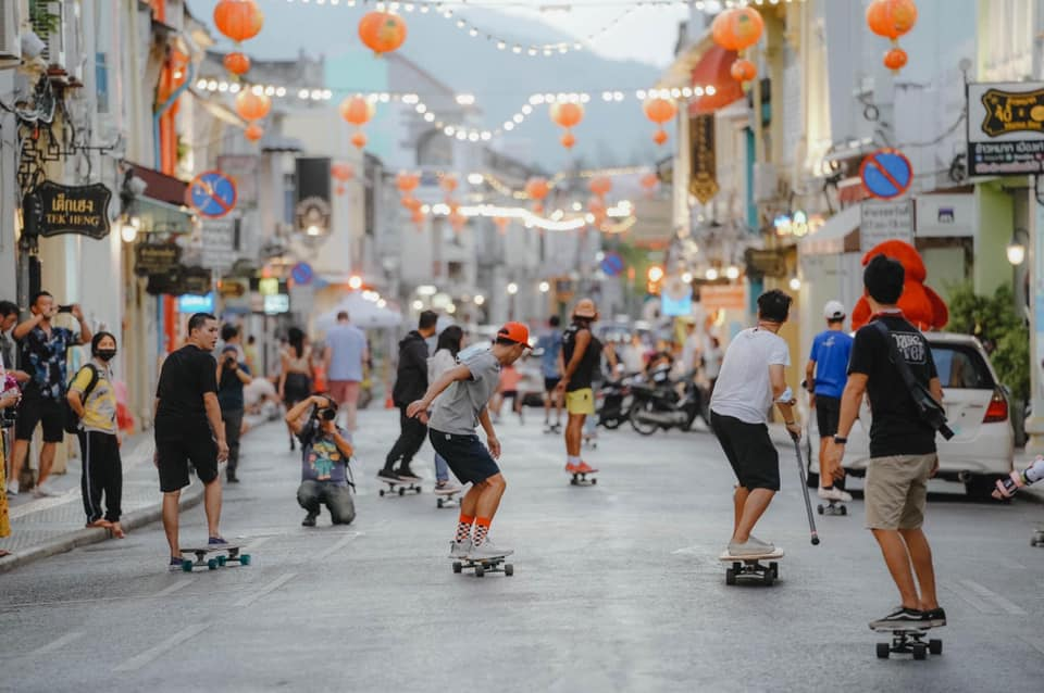 A group of surf skaters along Thaland Road in Phuket Town