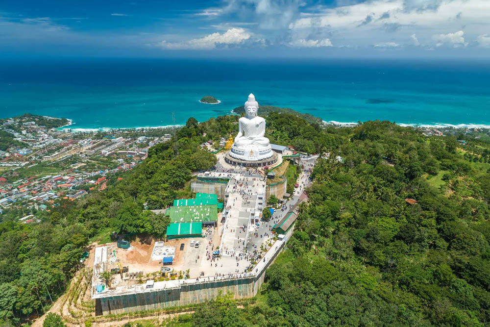 Phuket's Big Buddha with the Andaman Sea in the background