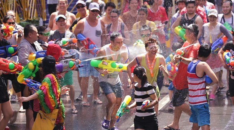 Water fights along the street