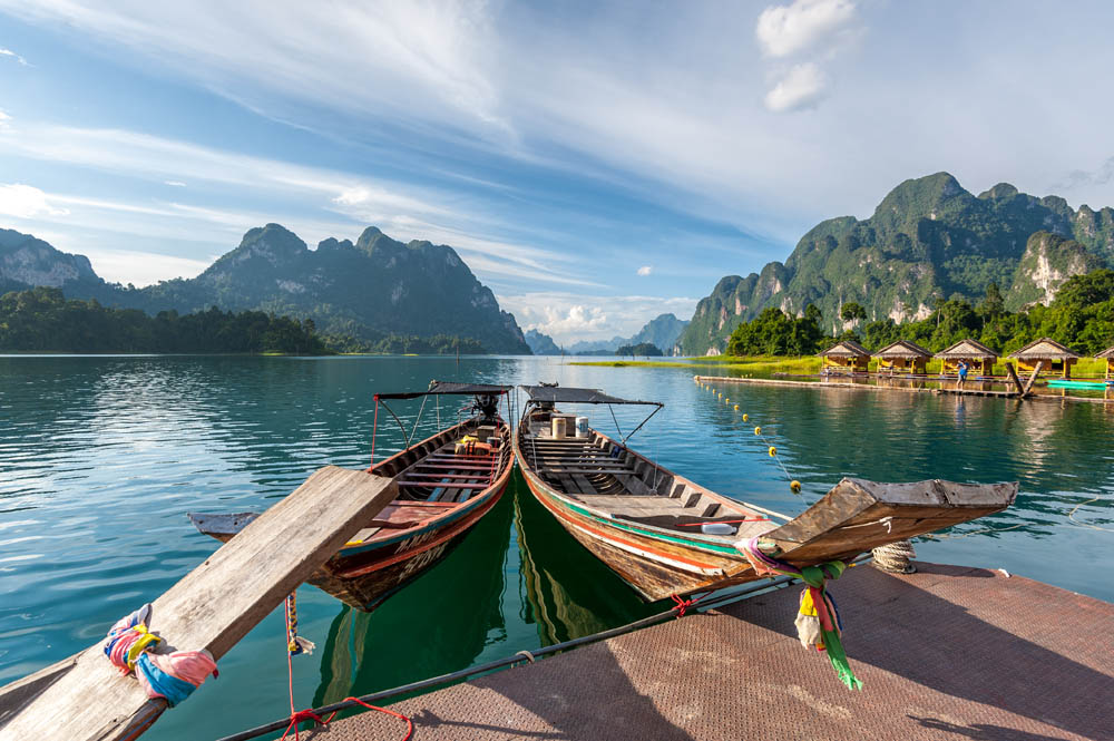 Longtail boats on the lake in Khao Sok National Park
