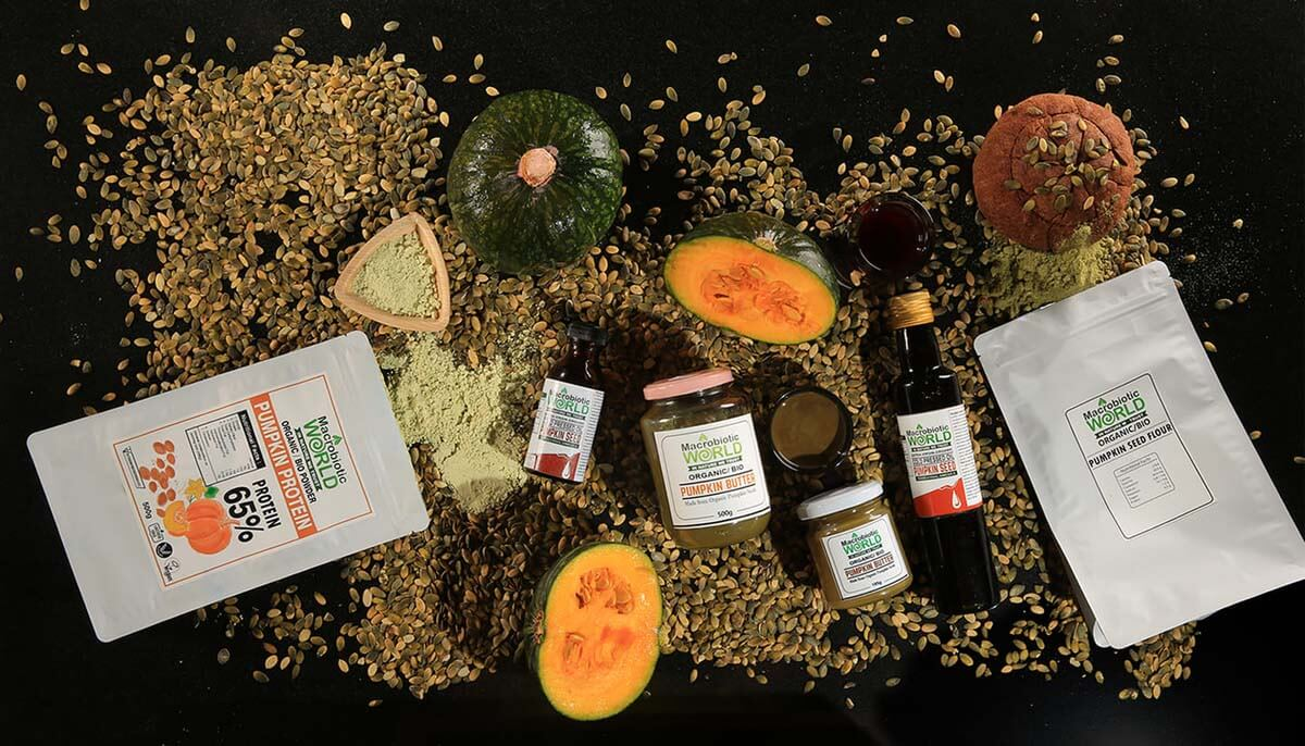 Selection of vegan food products