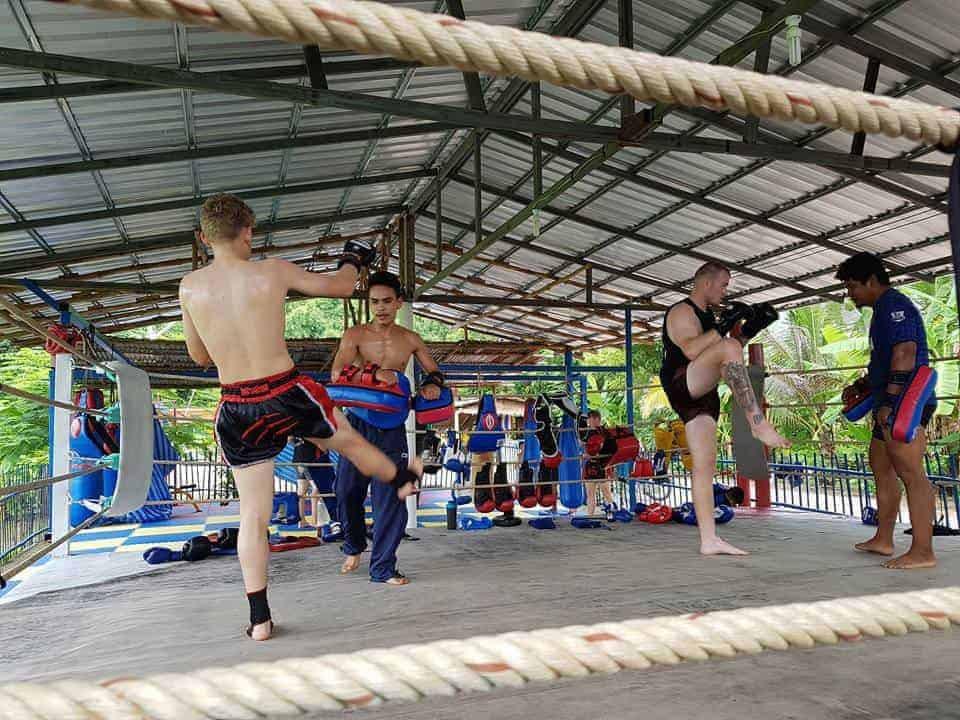 Muay Thai practice in the ring